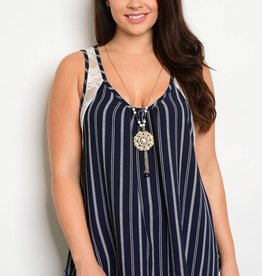 Navy Ivory Striped Tank Top