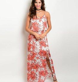 White Coral Floral Maxi Dress