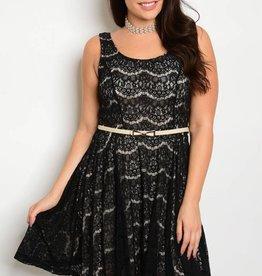 Black Nude Lace Short Dress