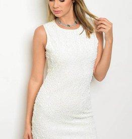 Off White Sequin Short Dress