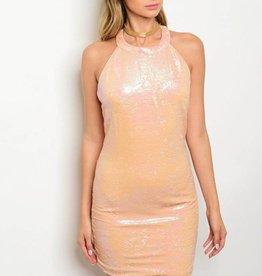 Pink Sequin Short Dress