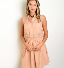 Salmon Lace Short Dress
