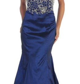 Navy Jeweled Long Dress Size 6