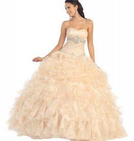 Champagne Ruffled Jeweled Long Dress Size 4