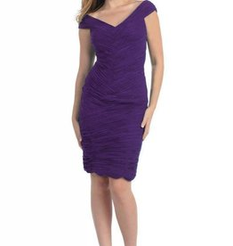 Eggplant Pleated Short Dress Size 12