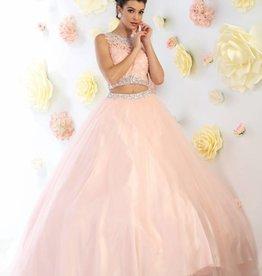 Blush Lace Jeweled Two Piece Long Dress Size 4