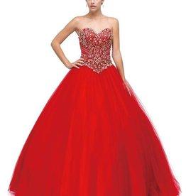 Red Jeweled Long Dress Size 14