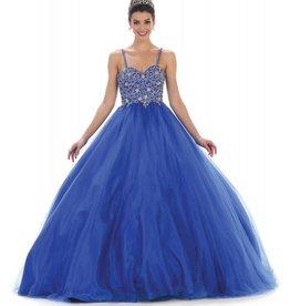 Royal Blue Jeweled Long Dress Size 8