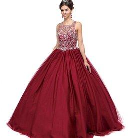 Burgundy Jeweled Long Dress Size S