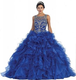 Royal Blue Jeweled Long Dress Size 6
