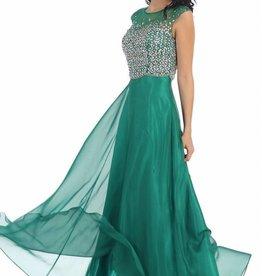 Emerald Jeweled Long Dress Size 6