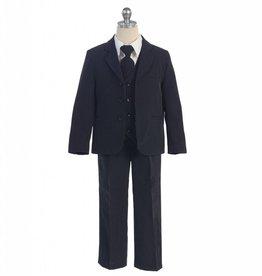 Navy Stripe Polyester Boys 5pc Suit Size 10