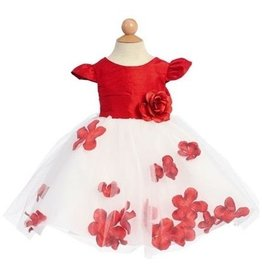 Red & White Girls Flower Short Dress Size 6M