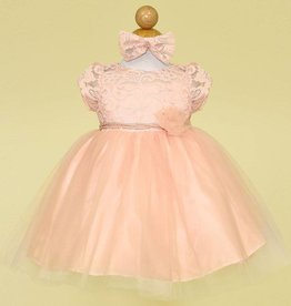 Blush Lace Girls Short Dress with Pearls Size 24M