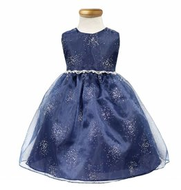 Navy Sparkling Organza Girls Short Dress Size 18M