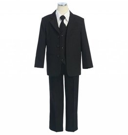 Black Stripe Polyester Boys 5pc Suit Size 12