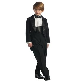 Boys Black 5pc Tuxedo With Tails Size 16