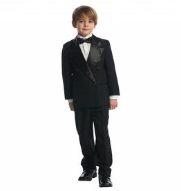 Boys Double Breasted 5pc Black Tuxedo Size 18