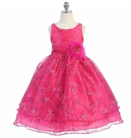 Fuchsia Embroidery Girls Short Dress Size 8