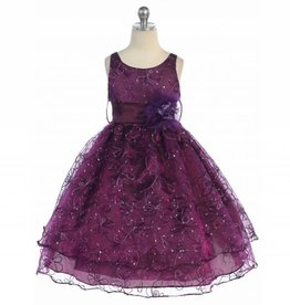 Plum Embroidery Girls Short Dress Size 8