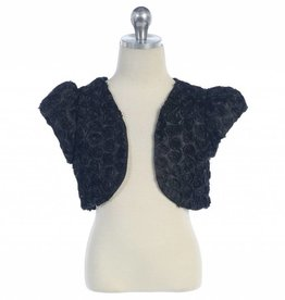 Rose Embroidery Girls Black Bolero Size 6