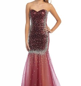 Burgundy Sequin Jeweled Long Dress Size 18