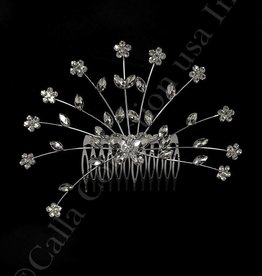 Silver Crystal Flower Hair Comb