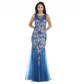 Royal Blue & Nude Lace Long Dress Size 10