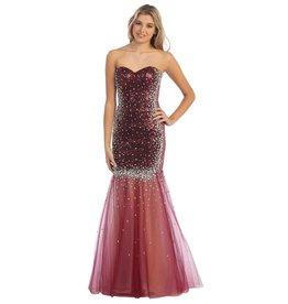 Burgundy Sequin Jeweled Long Dress Size 18