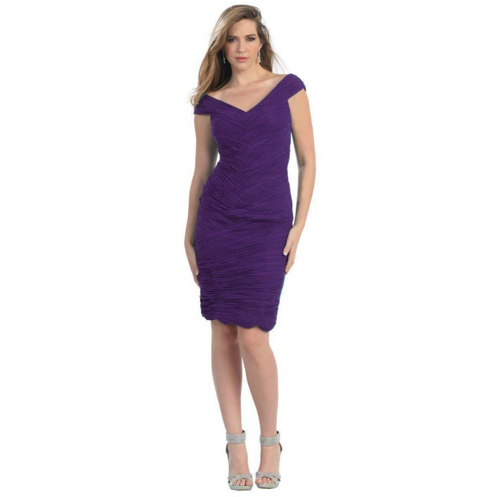 Eggplant Pleated Short Dress Size 10
