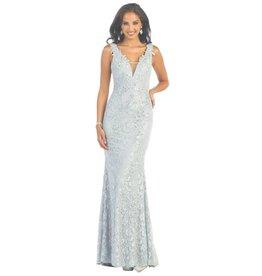 Silver Laced Jeweled Long Dress Size 8