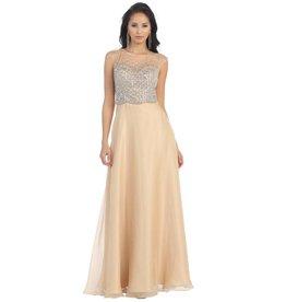 Champagne Jeweled Long Dress Size 6