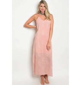 Mauve Embroidery Long Dress