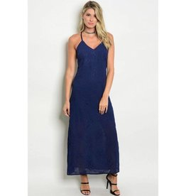 Navy Embroidery Long Dress
