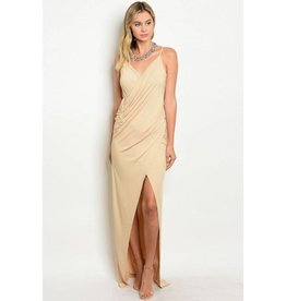 Nude Draped Long Dress