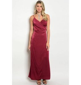 Wine Satin Long Dress