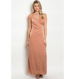 Camel Satin Long Dress