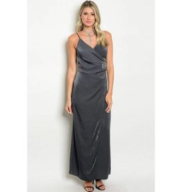 Dark Gray Satin Long Dress