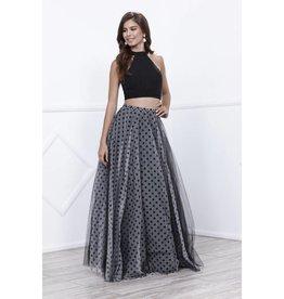 Black Polka Dot Two Piece Long Dress Size XS