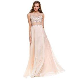 Nude Jeweled Long Dress Size 2XL