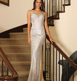 Gold Jeweled Sequin Long Dress Size 8