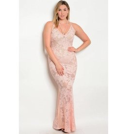 Peach Lace Long Dress