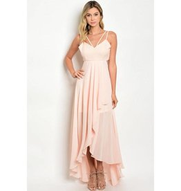 Peach Ruffle High Low Dress