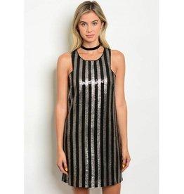 Black Gold Striped Sequin Short Dress