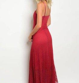 Burgundy Lace Long Dress