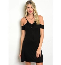Black Lace Up Off Shoulder Short Dress