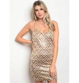Taupe Bronze Sequin Short Dress