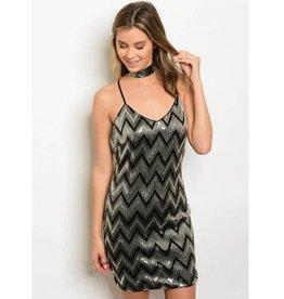 Gold Black Silver Sequin Short Dress