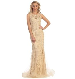 Champagne Nude Jeweled Long Dress Size XS