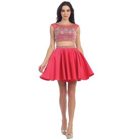 Watermelon Jeweled Short Dress Size XS